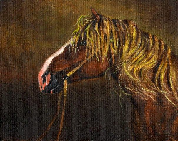 � Original Oil Portrait Painting DRAFT STALLION Horse �