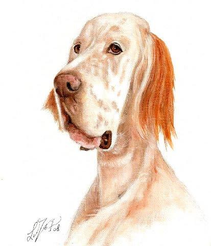� Original Oil DOG Portrait Painting Art ENGLISH SETTER