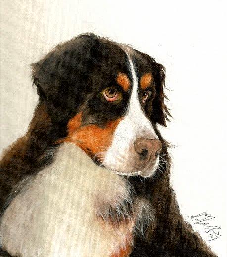 � Original Oil Portrait Painting BERNESE MOUNTAIN DOG �