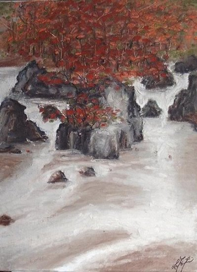 � Original Oil Painting Landscape Fall Leaves & River �
