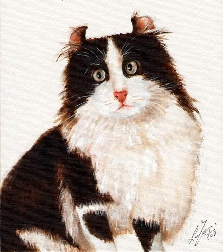 � Original Oil Portrait Painting Art BLACK & WHITE CAT