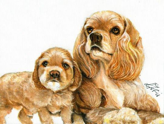 � ORIGINAL Oil DOG Portrait Painting COCKER SPANIEL �
