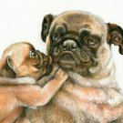 ★ ORIGINAL Oil Portrait Painting Dog Puppy Artwork PUG
