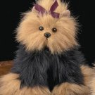 ★ BEARINGTON COLLECTION Dog YORKIE Fur Plush ~IT BARKS~
