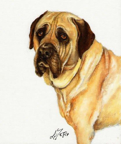 � Original Oil DOG Portrait Painting Artwork MASTIFF �