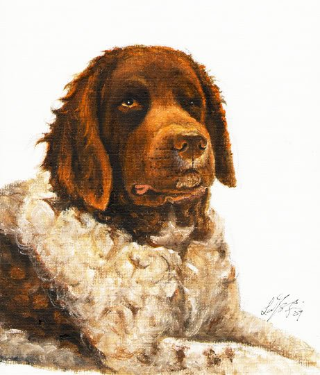 � Original Oil DOG Portrait Painting WETTERHOUN Artwork