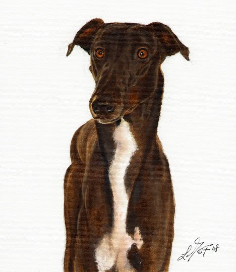 � Original Oil DOG Portrait Painting Art GREYHOUND �