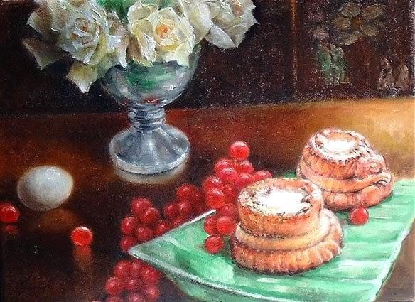 � Original Still Life Oil Painting Classical White Rose