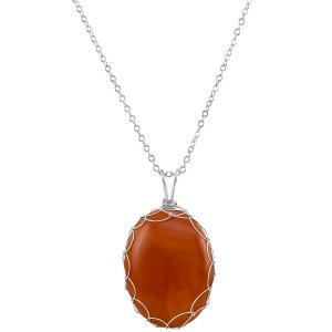 Large Red Jasper Charlotte Pendant in Sterling Silver