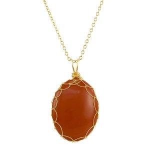 Large Red Jasper Charlotte Pendant in Gold