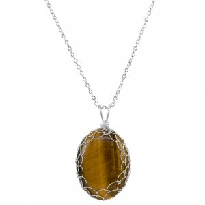 Large Tigers Eye Charlotte Pendant in Sterling Silver