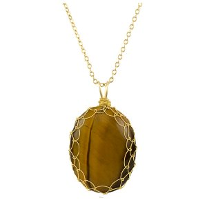 Large Tigers Eye Charlotte Pendant in Gold