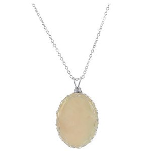 Large Rose Quartz Charlotte Pendant in Sterling Silver