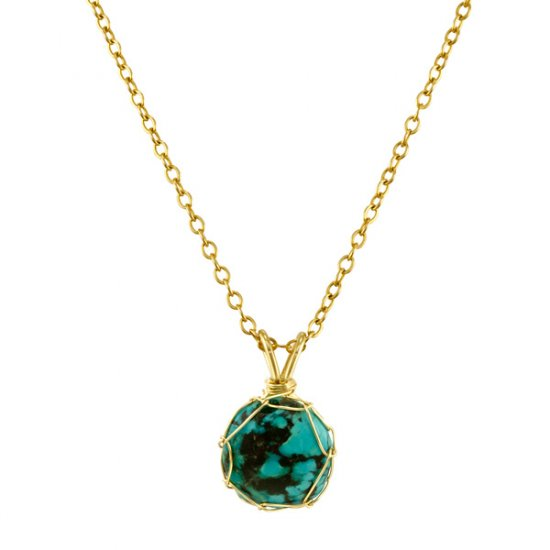 Small Turquoise Mini Charlotte Pendant in Gold