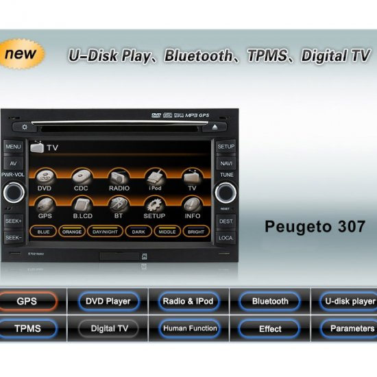 Advanced High Quality Car DVD GPS Player for Peugeot 307 + iPod ready Bluetooth + Digital Panel