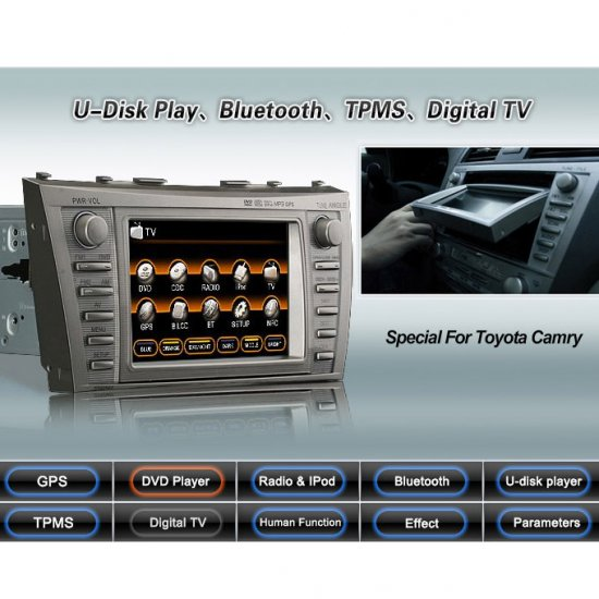 Advanced & High Quality 2 Din Car DVD GPS Player for Toyota Camry + IPOD ready Bluetooth