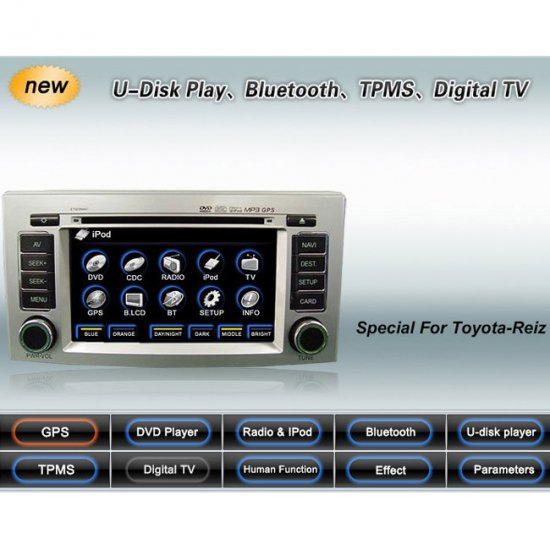 Advanced & High Quality Car DVD GPS Player for Toyota Reiz + IPOD ready Bluetooth