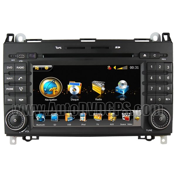 """Benz B200 DVD GPS player with 7"""" Digital HD Touchscreen and Steering Wheel Control"""