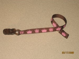 Sassy Straps Pacifier Pal for your little Princess Brown with Pink Crowns!