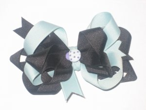 Light Teal & Black Bow with Teal Lady Bug