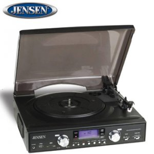 JENSEN® 3-SPEED STEREO TURNTABLE WITH MP3 ENCODING AND AM/FM STEREO RADIO