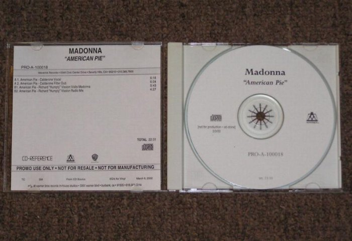 MadonnaEXTREMELY RARE AMERICAN PIE 4 MIX TEST CD MINT!
