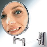"CHROME SWING ARM WALL MOUNT 8"" MIRROR 5X~MAKEUP~BATH"
