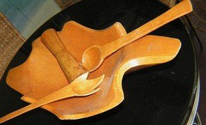 Vintage 4 Piece Set Thick Hand Carved Hard Wood Salad Dough Bowl