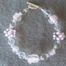 Pink Lampwork Handmade Beaded Bracelet with Clear and Pink Seed Beads