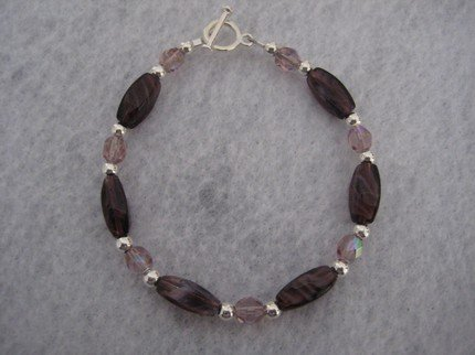 Amethyst Cut Twist Beads and Amethyst Fire Polished Handmade Beaded Bracelet with Silver