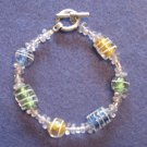 Multi Colored Handmade Beaded Bracelet with Blue, Green, Yellow and Clear Beads