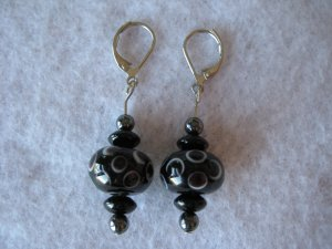Black Lampwork Handmade Beaded Earrings with Silver