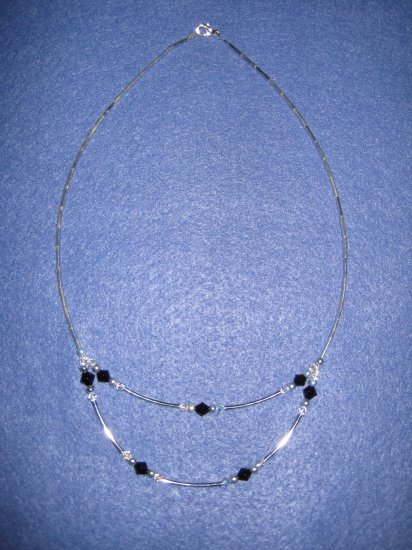 Swarovski Crystal and Black Bicone Handmade Beaded Necklace with Silver Round and Spacer Beads