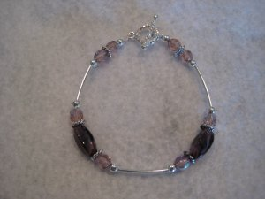 Amethyst Glass Cut Twist Beads with Amethyst Fire Polished Beads and Silver Handmade Beaded Bracelet