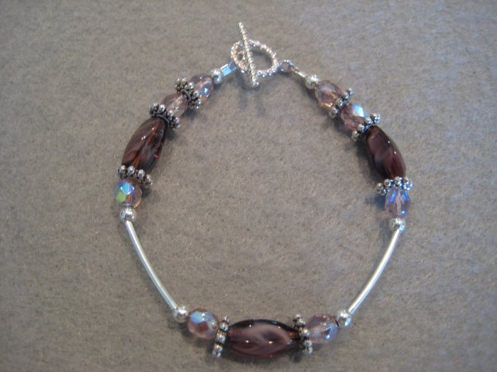 Amethyst Glass Twist Cut Beads with Amethyst Fire Polished Beads and Silver Handmade Beaded Bracelet