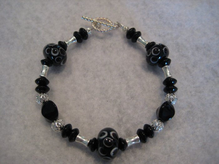 Black Lampwork with Silver Handmade Beaded Bracelet