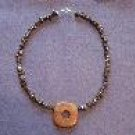 Grey Hematite and Red Pendant Handmade Beaded Necklace with Grey Markings