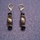 Dark Grey Hematite and Black Handmade Beaded Earrings