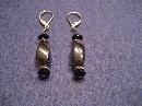 Dark Grey Hematite and Black Handmade Beaded Earrings