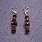 Black and Red Handmade Beaded Earrings with Silver
