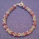 Pink Swarovski Crystal Handmade Beaded Bracelet with Silver