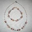 Pink and Silver Handmade Beaded Necklace and Bracelet Set