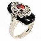 Antique Tone Black Stone Ring