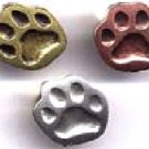 Trio of copper, brass, pewter paw print pins FREE SHIPPING