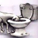 Dog in Toilet pin Pewter  free shipping