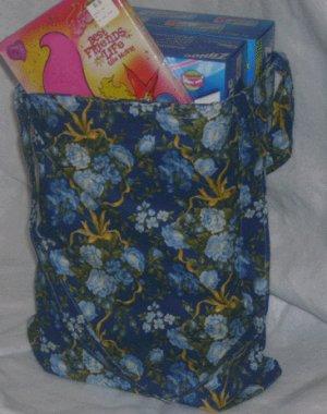 Blue & Gold Floral Tote Bag
