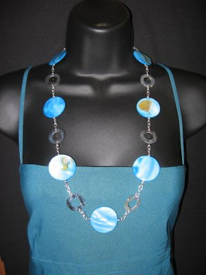 """29"""" Turquoise Ripple Shell Necklace"""