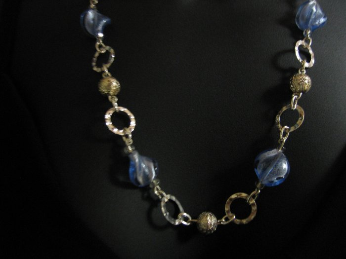 "24"" Blue Glass Necklace"