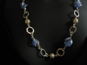 "24"" Blue Glass Necklace"