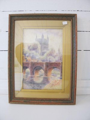 Old Wyebridge and Hereford Cathedral Watercolour